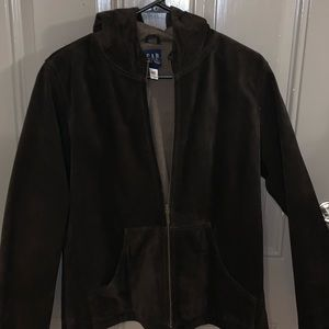GAP Brown 100% Suede Leather Weighted Jacket